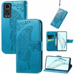 For ZTE Axon 30 5G Butterfly Love Flower Embossed Horizontal Flip Leather Case with Holder & Card Slots & Wallet & Lanyard(Blue)
