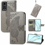 For ZTE Axon 30 5G Butterfly Love Flower Embossed Horizontal Flip Leather Case with Holder & Card Slots & Wallet & Lanyard(Gray)