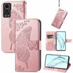 For ZTE Axon 30 5G Butterfly Love Flower Embossed Horizontal Flip Leather Case with Holder & Card Slots & Wallet & Lanyard(Rose Gold)