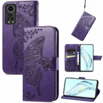 For ZTE Axon 30 5G Butterfly Love Flower Embossed Horizontal Flip Leather Case with Holder & Card Slots & Wallet & Lanyard(Dark Purple)