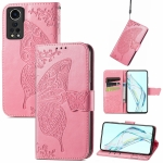 For ZTE Axon 30 5G Butterfly Love Flower Embossed Horizontal Flip Leather Case with Holder & Card Slots & Wallet & Lanyard(Pink)