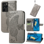 For ZTE Nubia Z30 Pro Butterfly Love Flower Embossed Horizontal Flip Leather Case with Holder & Card Slots & Wallet & Lanyard(Gray)