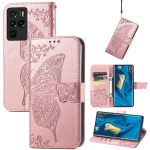 For ZTE Nubia Z30 Pro Butterfly Love Flower Embossed Horizontal Flip Leather Case with Holder & Card Slots & Wallet & Lanyard(Rose Gold)