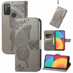 For Alcatel 1S 2021 Butterfly Love Flower Embossed Horizontal Flip Leather Case with Holder & Card Slots & Wallet & Lanyard(Gray)