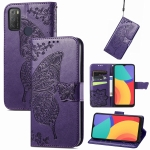 For Alcatel 1S 2021 Butterfly Love Flower Embossed Horizontal Flip Leather Case with Holder & Card Slots & Wallet & Lanyard(Dark Purple)