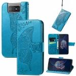 For Asus Zenfone 8 Flip Butterfly Love Flower Embossed Horizontal Flip Leather Case with Holder & Card Slots & Wallet & Lanyard(Blue)