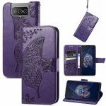 For Asus Zenfone 8 Flip Butterfly Love Flower Embossed Horizontal Flip Leather Case with Holder & Card Slots & Wallet & Lanyard(Dark Purple)