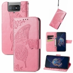 For Asus Zenfone 8 Flip Butterfly Love Flower Embossed Horizontal Flip Leather Case with Holder & Card Slots & Wallet & Lanyard(Pink)