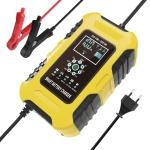 FOXSUR 10A 12V 7-segment Motorcycle / Car Smart Battery Charger, Plug Type:EU Plug(Yellow)