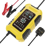 FOXSUR 10A 12V 7-segment Motorcycle / Car Smart Battery Charger, Plug Type:UK Plug(Yellow)