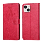 Beauty Girl Embossing Pattern Horizontal Flip Leather Case with Holder & Card Slot & Wallet & Photo Frame For iPhone 13(Red)