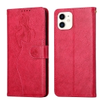 Beauty Girl Embossing Pattern Horizontal Flip Leather Case with Holder & Card Slot & Wallet & Photo Frame For iPhone 11(Red)