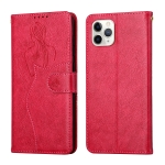 Beauty Girl Embossing Pattern Horizontal Flip Leather Case with Holder & Card Slot & Wallet & Photo Frame For iPhone 11 Pro Max(Red)