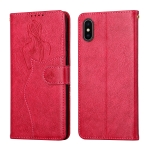 Beauty Girl Embossing Pattern Horizontal Flip Leather Case with Holder & Card Slot & Wallet & Photo Frame For iPhone X / XS(Red)