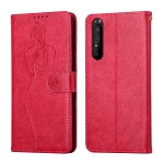 For Sony Xperia 1 III Beauty Girl Embossing Pattern Horizontal Flip Leather Case with Holder & Card Slot & Wallet & Photo Frame(Red)