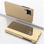 For Samsung Galaxy A22 4G Plated Mirror Horizontal Flip Leather Case with Holder(Gold)