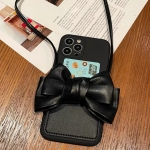 Fashionable Bowknot Crossbody Leather Card Bag Back Cover Case For iPhone 13 Pro Max(Black)