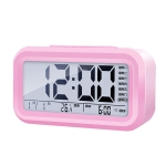 Voice Report Clock Three Groups Of Alarms Smart LED Electronic Alarm Clock, Style:Rechargeable(Pink)