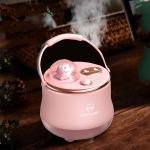 F08 Wireless Water Replenishing Double Spray Humidifier LED Night Light Humidifier(Pink)