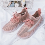 ZM-80 Women Breathable Casual Shoes Women Flying Weave Sports Shoes, Size: 37(Pink)
