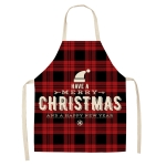 2 PCS Christmas Plaid Series Cotton And Linen Apron Household Cleaning Overalls, Specification: 68 x 55cm(WQ-001327)