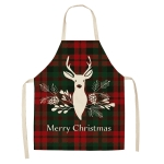 2 PCS Christmas Plaid Series Cotton And Linen Apron Household Cleaning Overalls, Specification: 68 x 55cm(WQ-001329)