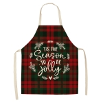 2 PCS Christmas Plaid Series Cotton And Linen Apron Household Cleaning Overalls, Specification: 68 x 55cm(WQ-001330)