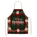 2 PCS Christmas Plaid Series Cotton And Linen Apron Household Cleaning Overalls, Specification: 68 x 55cm(WQ-001331)