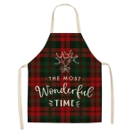 2 PCS Christmas Plaid Series Cotton And Linen Apron Household Cleaning Overalls, Specification: 68 x 55cm(WQ-001332)