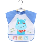 2 PCS Baby Eating Gown Children Waterproof Apron, Colour: Sleeveless Hippo(110cm)