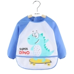 2 PCS Baby Eating Gown Children Waterproof Apron, Colour: Long-sleeved Skate Dragon(110cm)