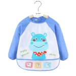 2 PCS Baby Eating Gown Children Waterproof Apron, Colour: Long-sleeved Hippo(100cm)