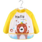 2 PCS Baby Eating Gown Children Waterproof Apron, Colour: Long-sleeved Yellow Bear(100cm)