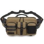 Ozuko 9449 Outdoor Large-Capacity Waist Bag Multifunctional Sports Waterproof Crossbody Bag(Khaki)