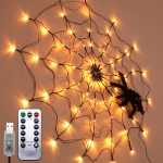 LED Spider Web Lamp with Remote Control Halloween Atmosphere Decoration Props, Power: USB-in