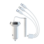 R3XK 1 In 3 Digital Display Car Charger QC3.0 Fast Charging Multifunctional Cigarette Lighter, Model: 40W(White)