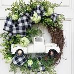 Christmas Ornament Wreath Garland Door Hanger(White)