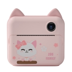 P1 Children Camera Printer Digital Toys Pocket Student Homework Mistakes Collections Printer, Style: Pink Cat + 16G