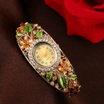 xr1685 Diamond Bracelet Watch Ethnic Palace Painted Bracelet Watch(Gold)