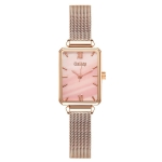 GAIETY G690 Retractable Magnet Buckle Ladies Mesh Belt Small Square Dial Bracelet Watch(Rose Gold Pink Dial)