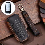 Hallmo Car Cowhide Leather Key Protective Cover Key Case for Rohens Genesis 8-button (Black)