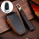 Hallmo Car Cowhide Leather Key Protective Cover Key Case for Hyundai 3-button (Black)