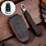 Hallmo Car Cowhide Leather Key Protective Cover Key Case for Hyundai 4-button (Black)