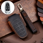 Hallmo Car Cowhide Leather Key Protective Cover Key Case for Hyundai 7-button (Black)