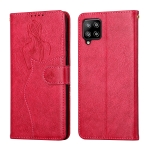 For Samsung Galaxy A42 5G Beauty Girl Embossing Pattern Horizontal Flip Leather Case with Holder & Card Slot & Wallet & Photo Frame(Red)
