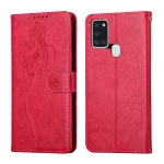 For Samsung Galaxy A21s Beauty Girl Embossing Pattern Horizontal Flip Leather Case with Holder & Card Slot & Wallet & Photo Frame(Red)