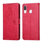 For Samsung Galaxy A20e Beauty Girl Embossing Pattern Horizontal Flip Leather Case with Holder & Card Slot & Wallet & Photo Frame(Red)