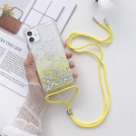 Gradient Glitter Powder Epoxy TPU Thickened Acrylic Shockproof Case with Round Neck Lanyard For iPhone 13 Pro Max(Yellow)