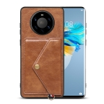 For Huawei Mate 40 Pro+ Litchi Texture Silicone + PC + PU Leather Back Cover Shockproof Case with Card Slot(Brown)