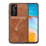 For Huawei P40 Litchi Texture Silicone + PC + PU Leather Back Cover Shockproof Case with Card Slot(Brown)